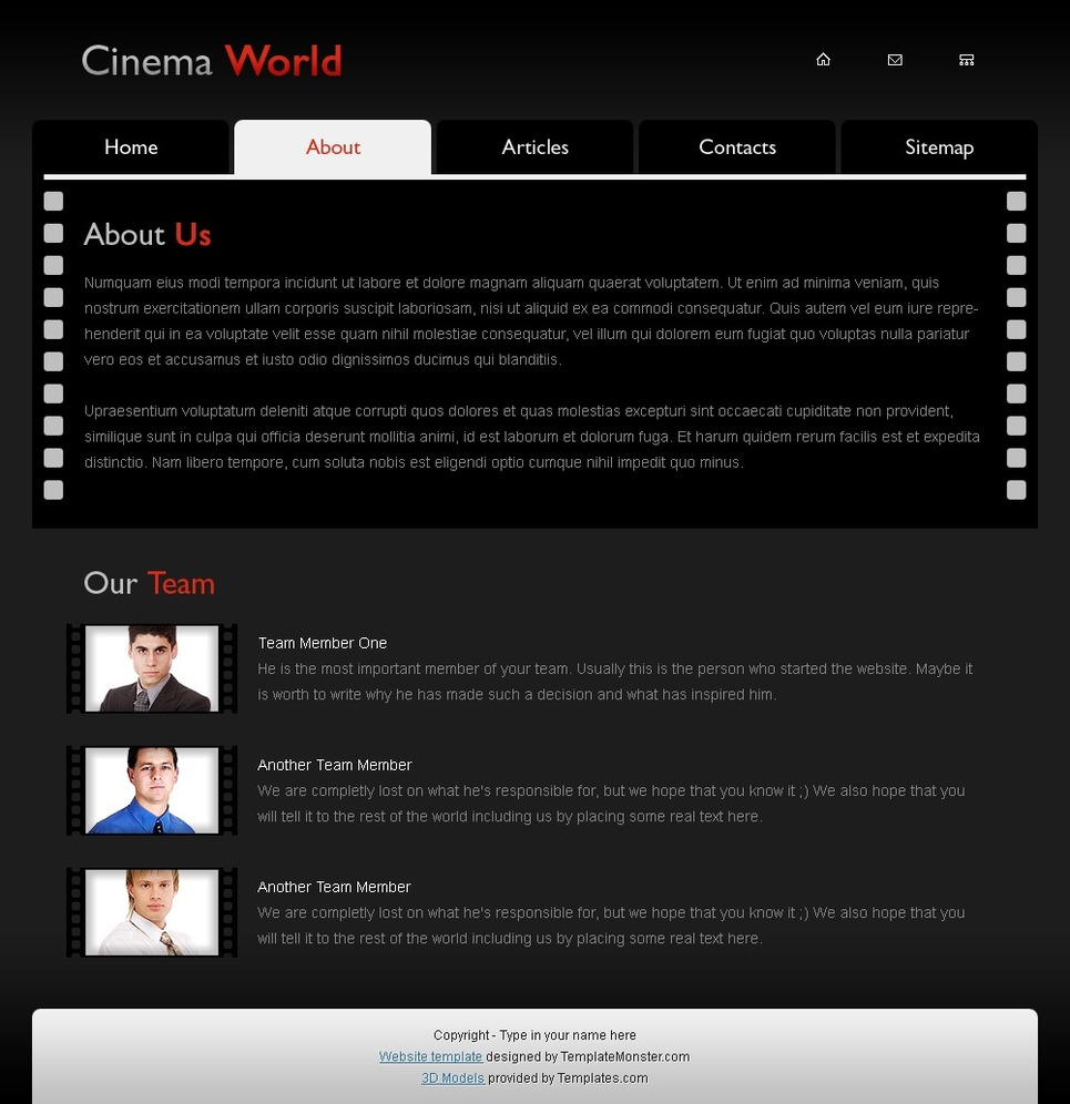 Free Cinema Website Template Website Template New Screenshots BIG