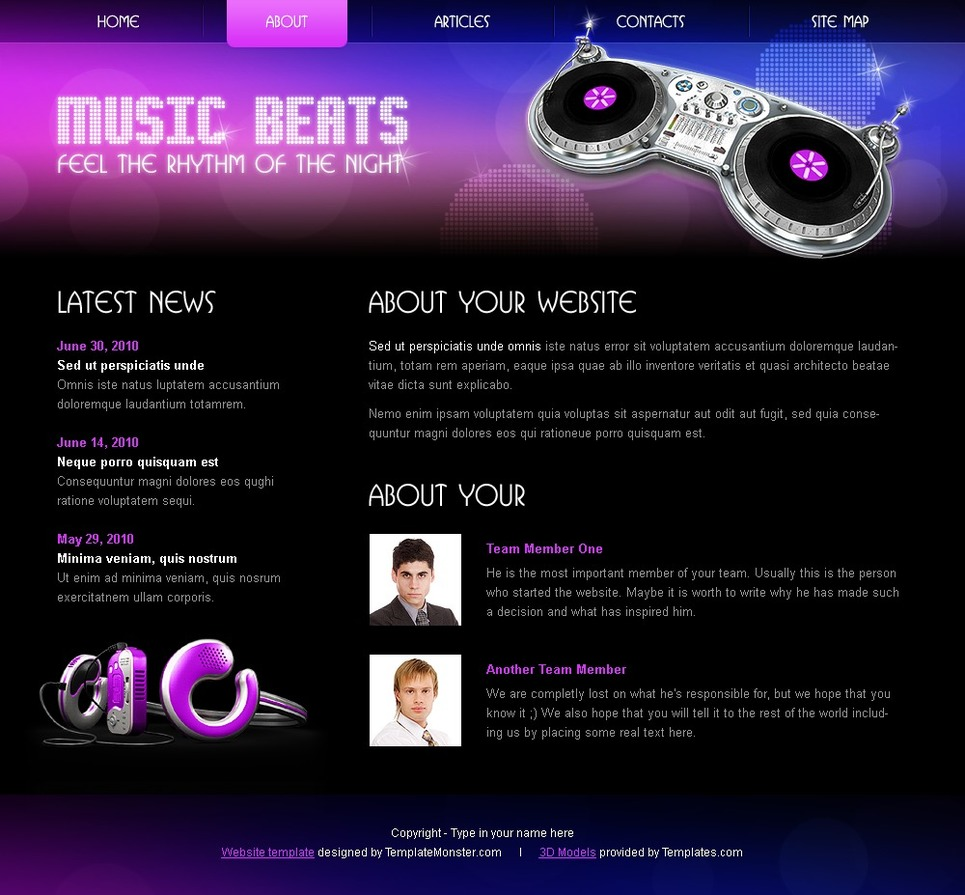 Free HTML5/CSS3 Template - Music Website Template New Screenshots BIG