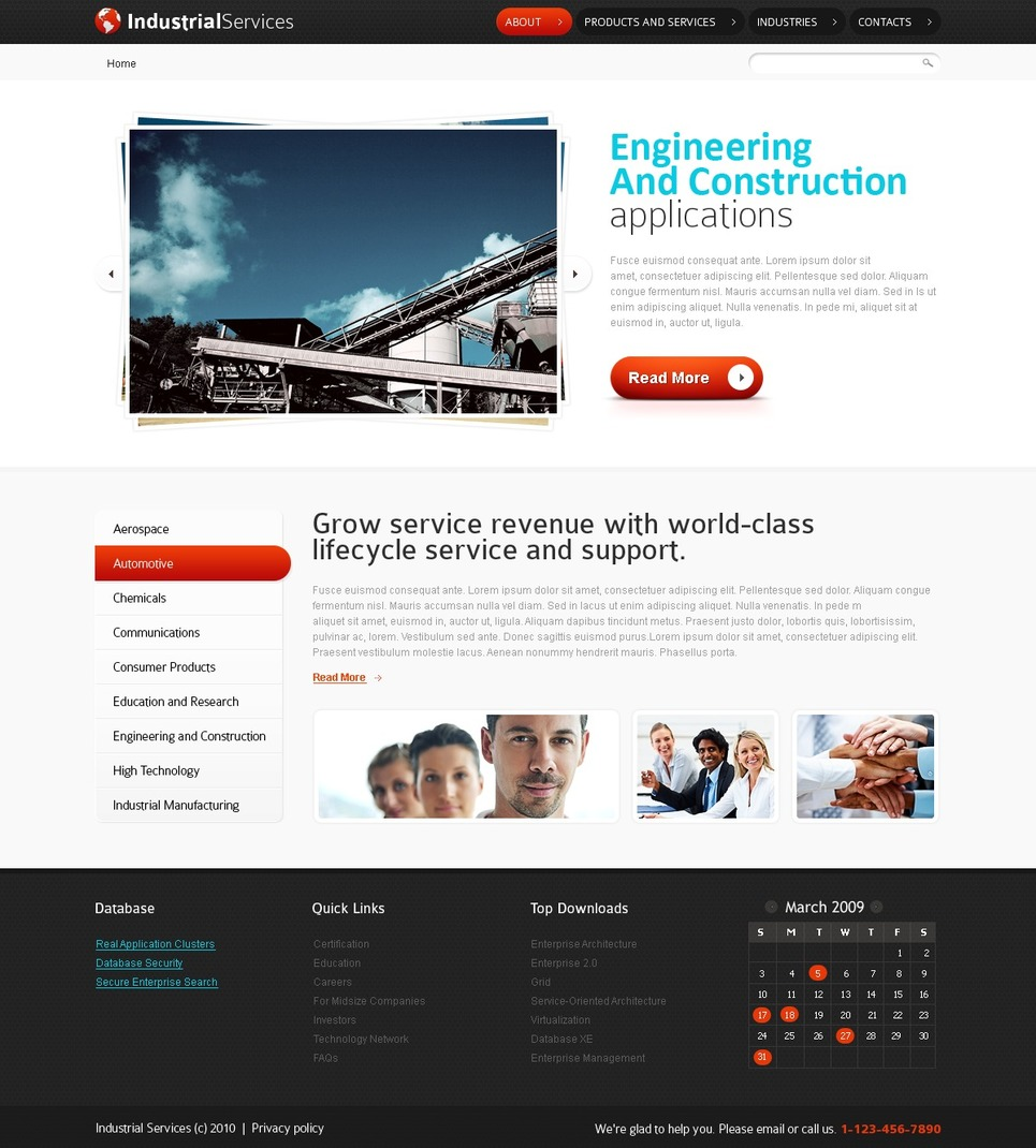 free html5 website template industrial services website template new