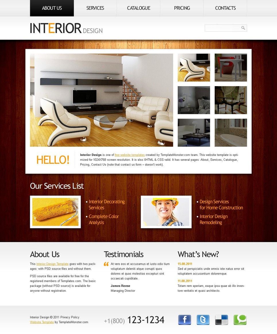 Free website template clean style interior for Interior design web site