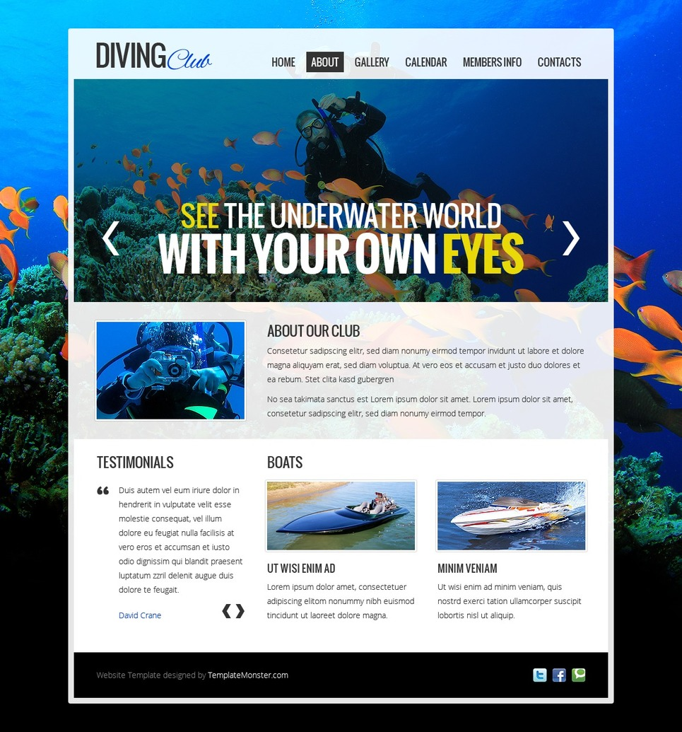 Free Website Template - Diving Club Website Template New Screenshots BIG