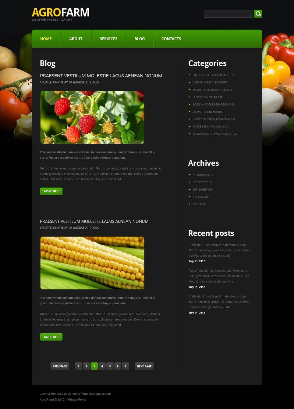 free joomla agriculture template. Black Bedroom Furniture Sets. Home Design Ideas