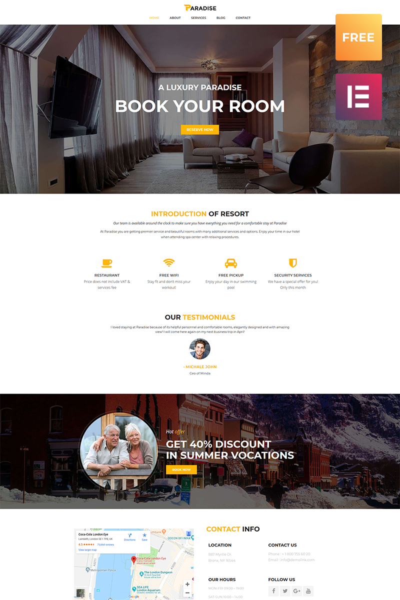 Free WordPress Theme for Hotel WordPress Theme New Screenshots BIG