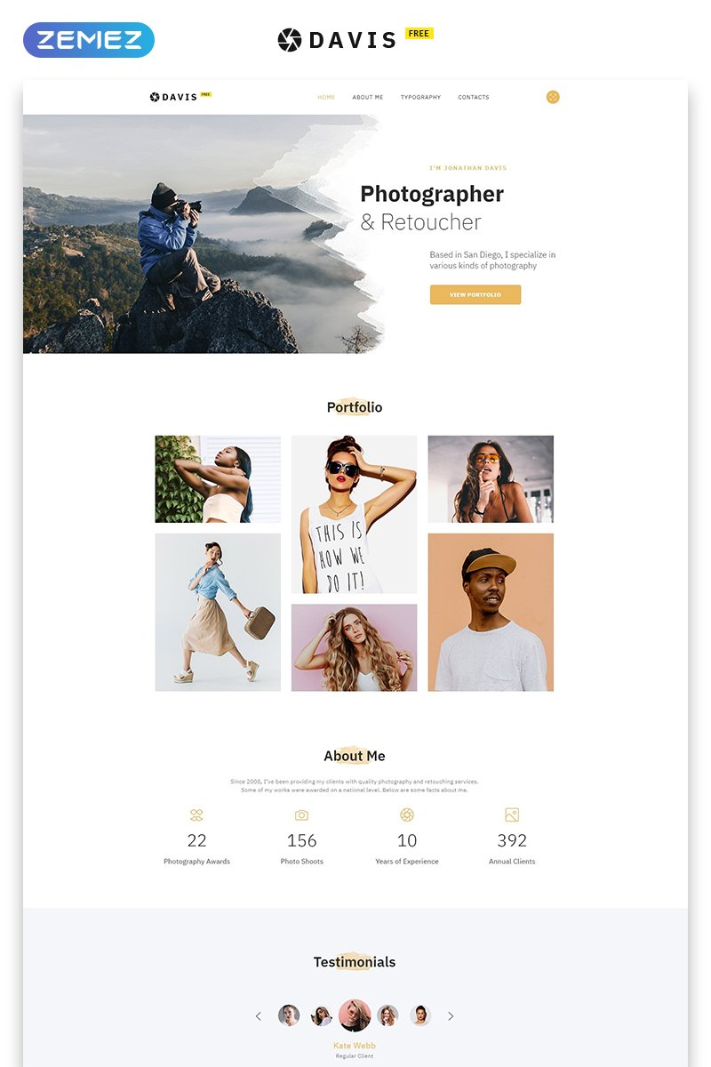 Free Photography Website Bootstrap Template