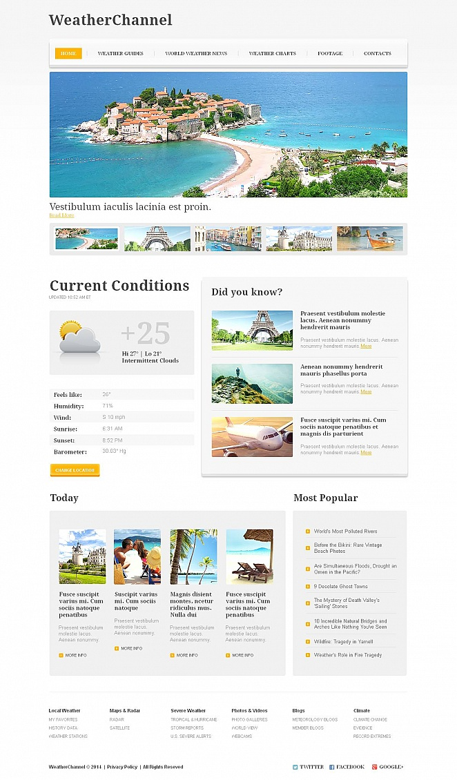 The Weather Channel Website Template - image