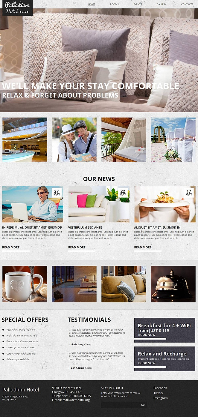 Hotels Website Template with a Photo Gallery in Header - image