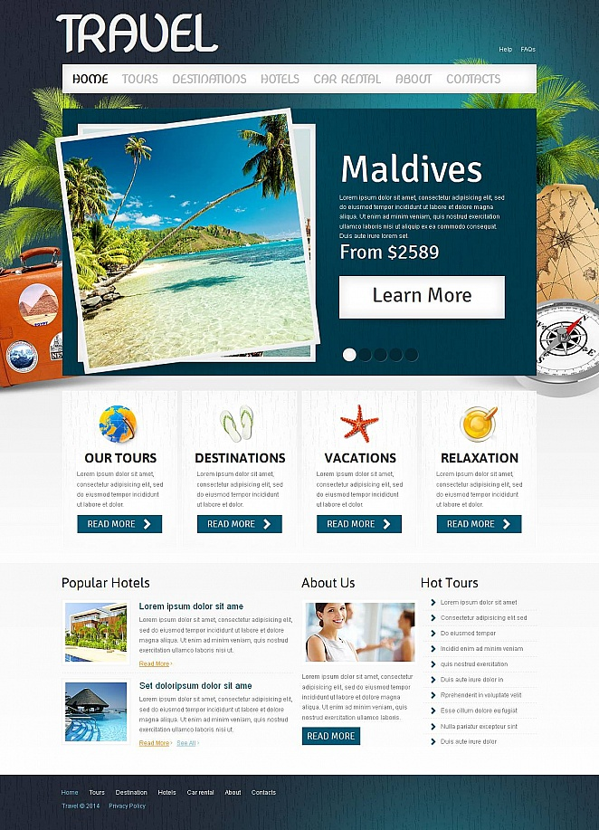 Travel Web Template with Header Image Background - image