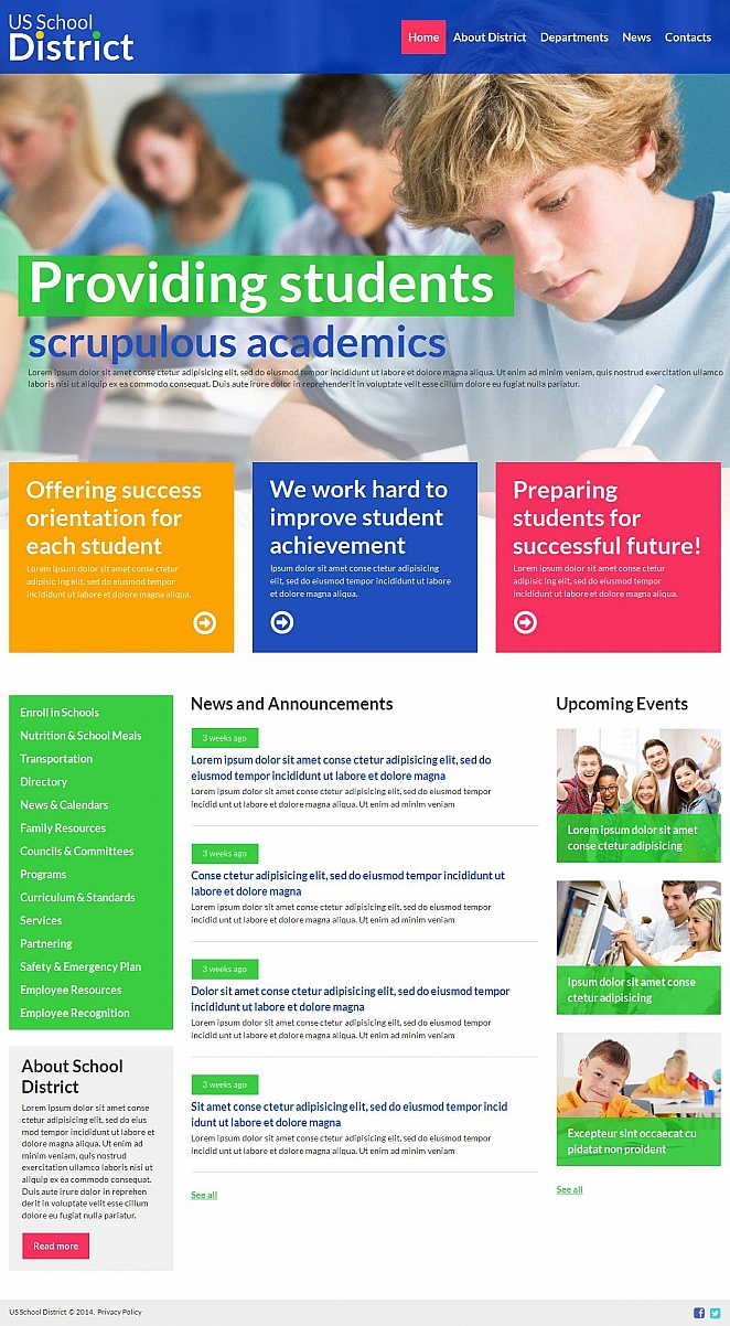 School Website Template with Great UI Design - image