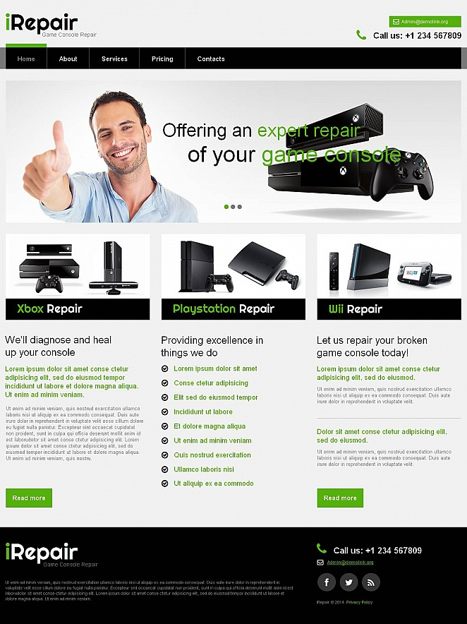 Game Console Repair Website Template - image