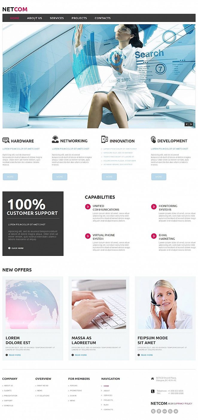Web-Vorlage für ein Kommunikationszentrum in hellen Tönen - image