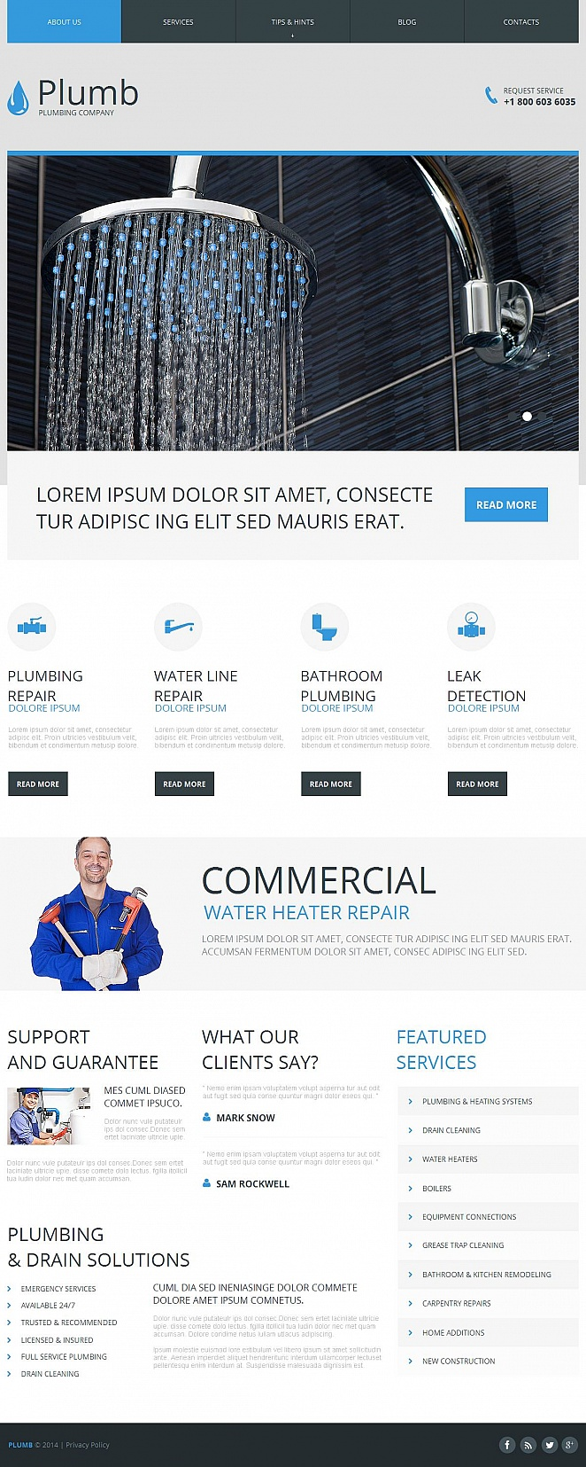 CMS Website Template for Plumbing Company - image