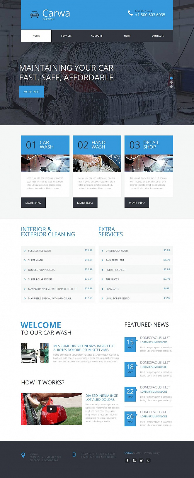 Car Wash Website Template with Large Images - image