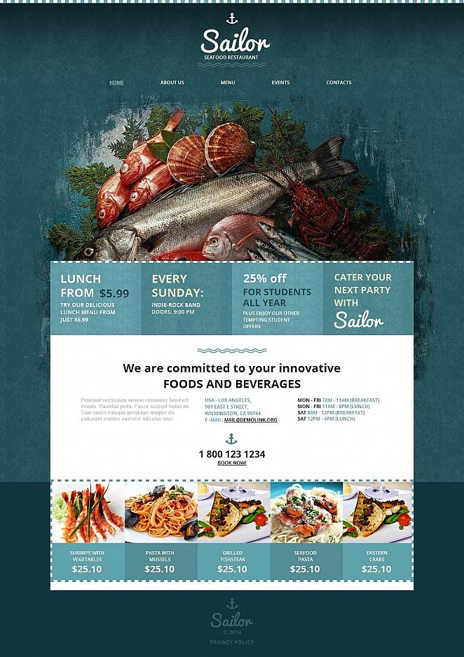 Seafood Restaurant Website Template Designed in Sea Colors - image