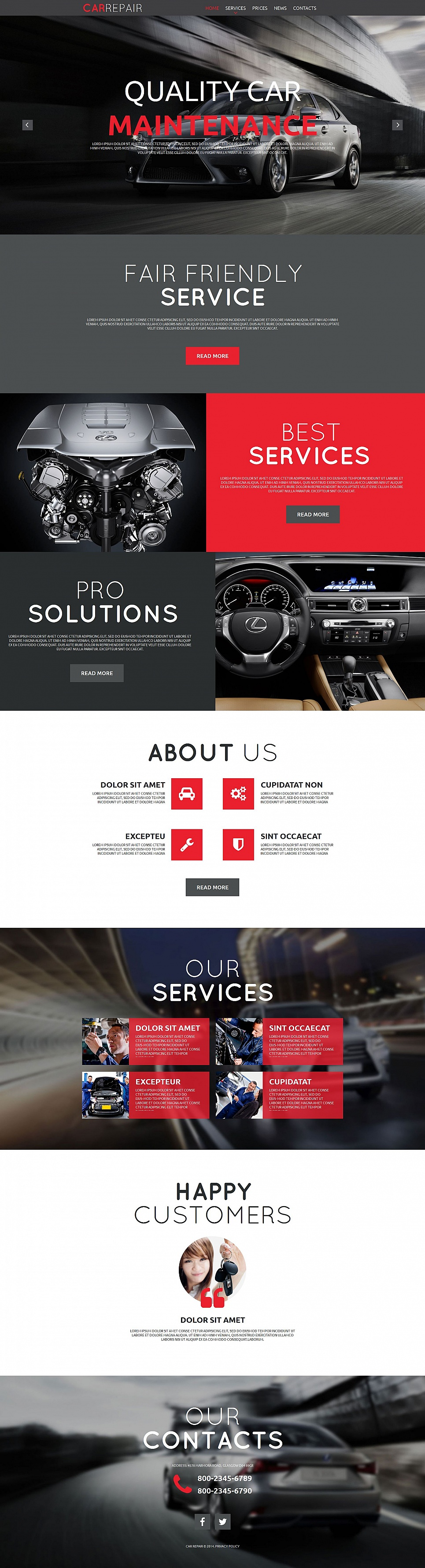 Car Repair Website Design with Huge Typography - image