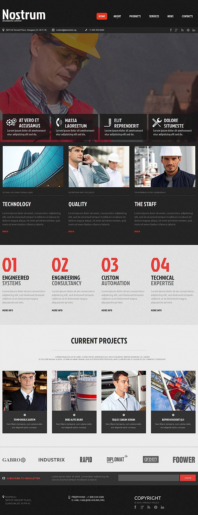 Black and White Website Template for Engineering Company - image