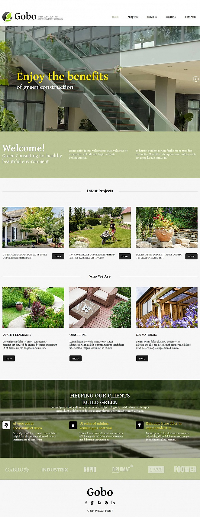 Green Construction Website Template with Minimalist Design - image