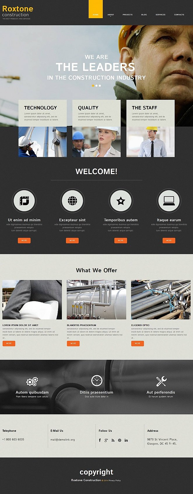 Construction Services Website Template with CMS - image