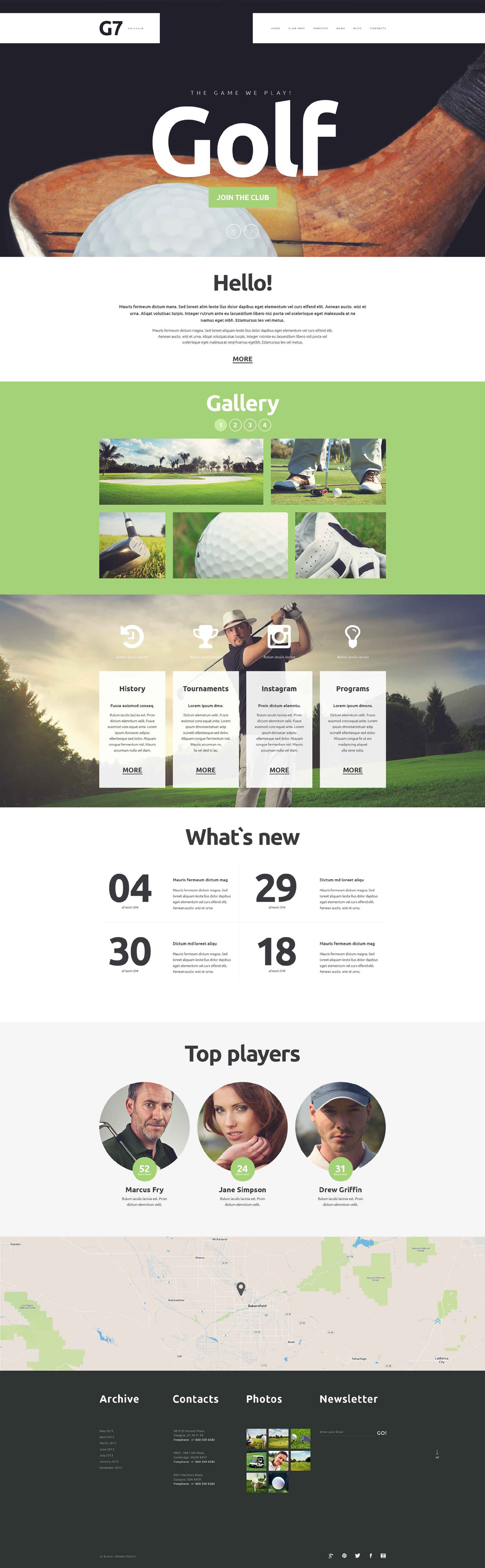 golf club website template 52364. Black Bedroom Furniture Sets. Home Design Ideas