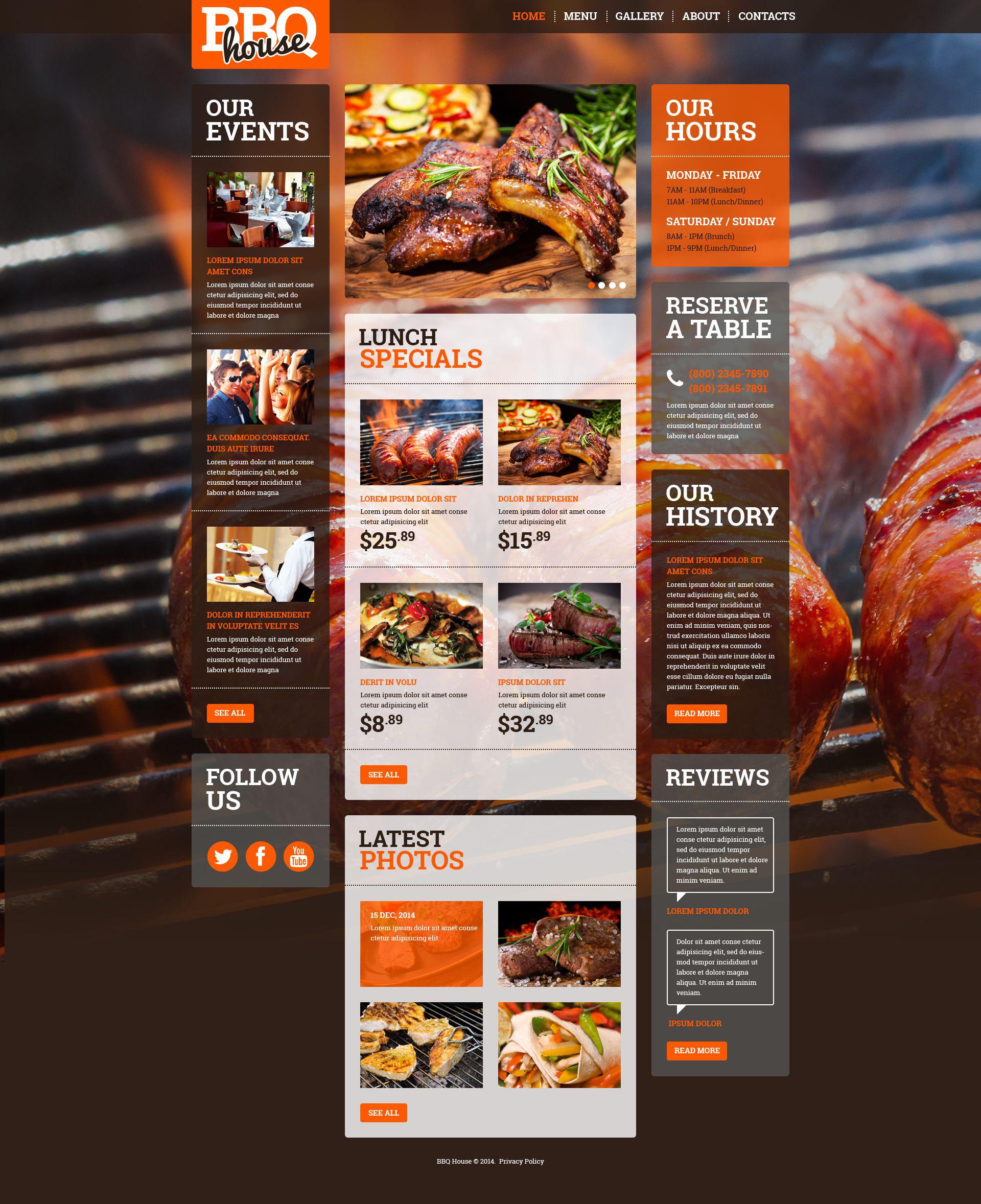 bbq restaurant responsive website template  52378