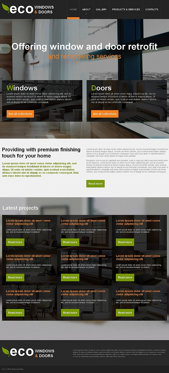 Web-Vorlage für Eco-Fenster mit modernem Design - image