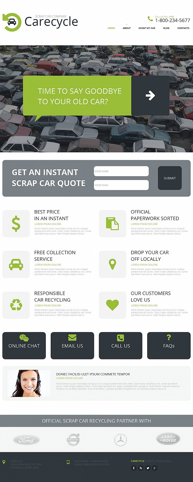 Car Scrap Website Template with Flat Design - image