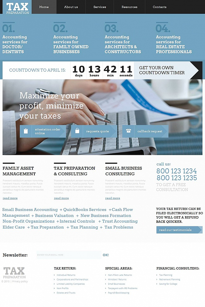 Tax Services Website Template - image
