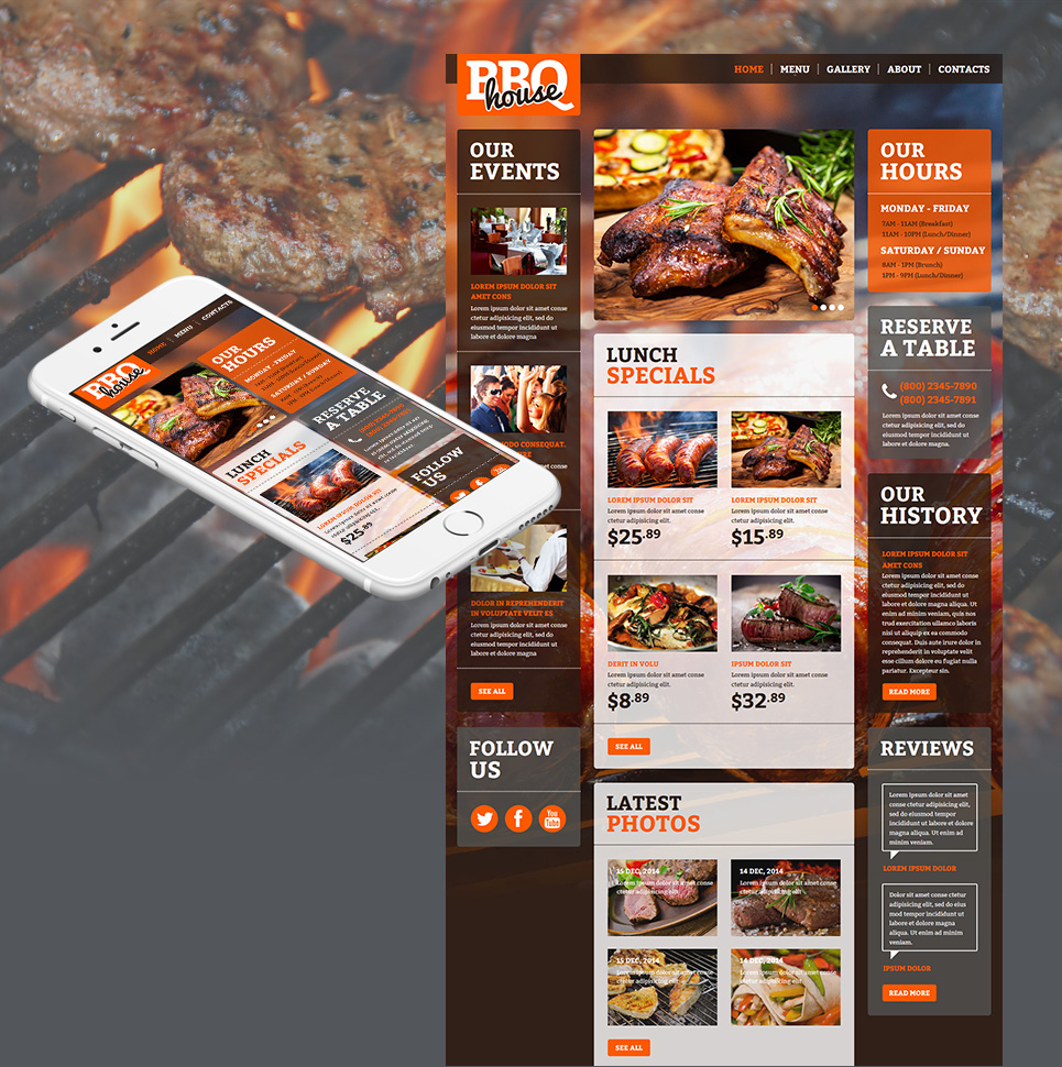 Grill Bar Website Template with Large Background Image - image