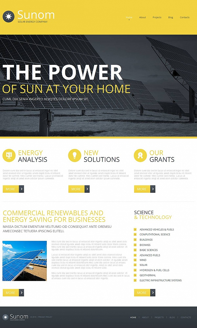 Yellow Website Template for Solar Energy Company - image