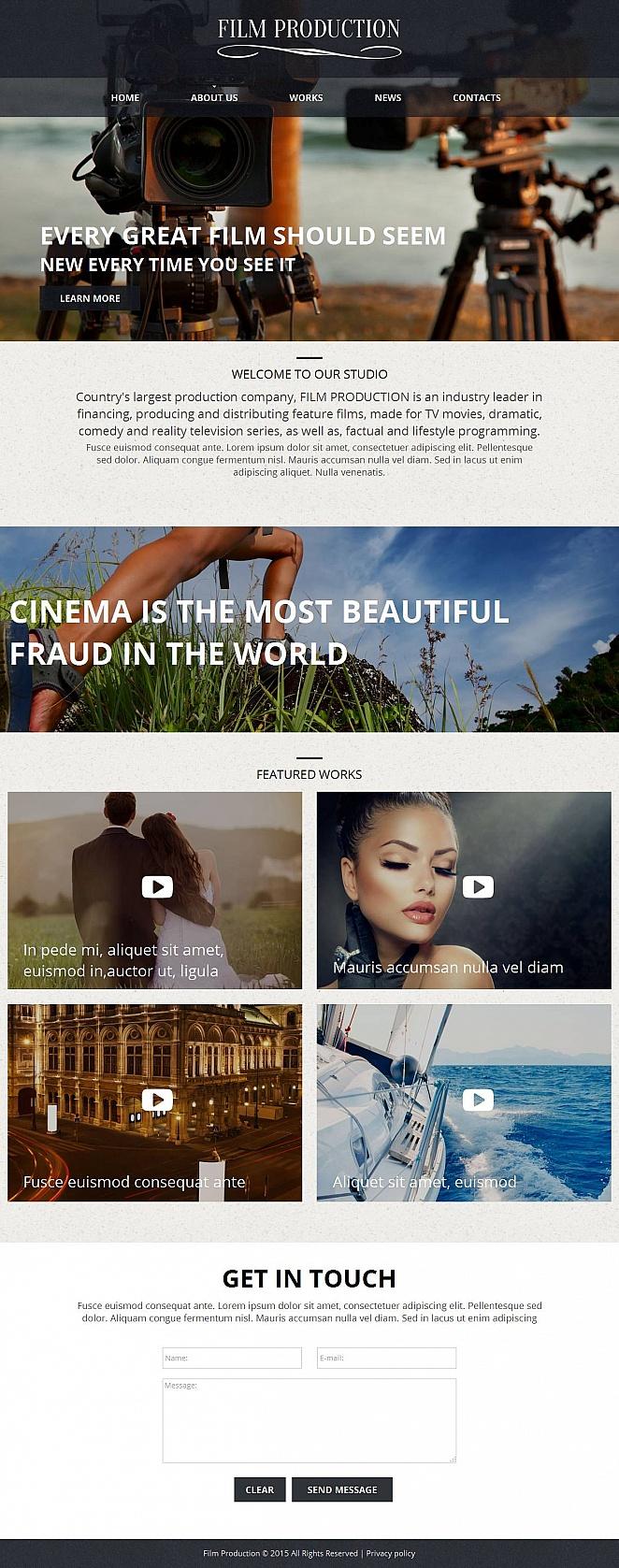 Homepage-Vorlage für die Videoproduktion mit großem statischen Bild - image