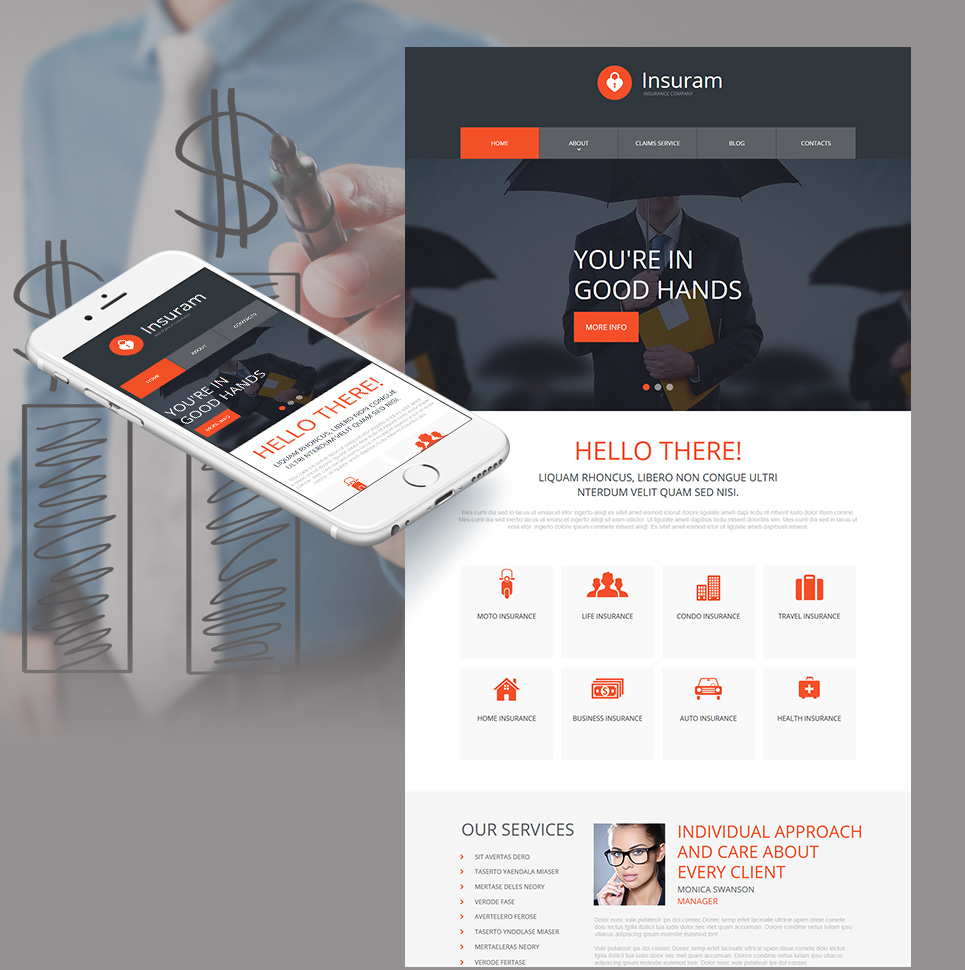 Insurance Company Web Template with Flat Design - image