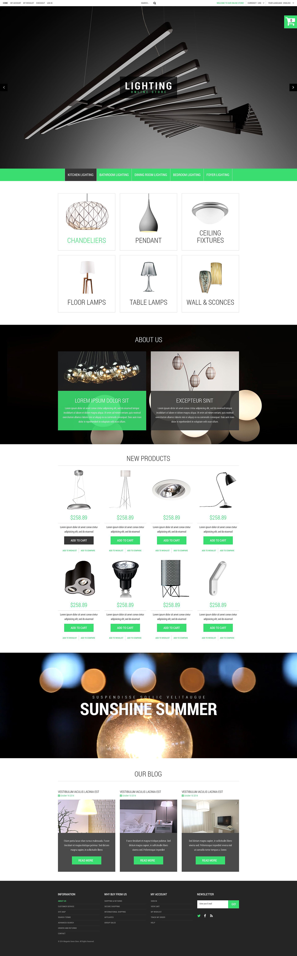 Template 52921 ensegna themes for Magento homepage template