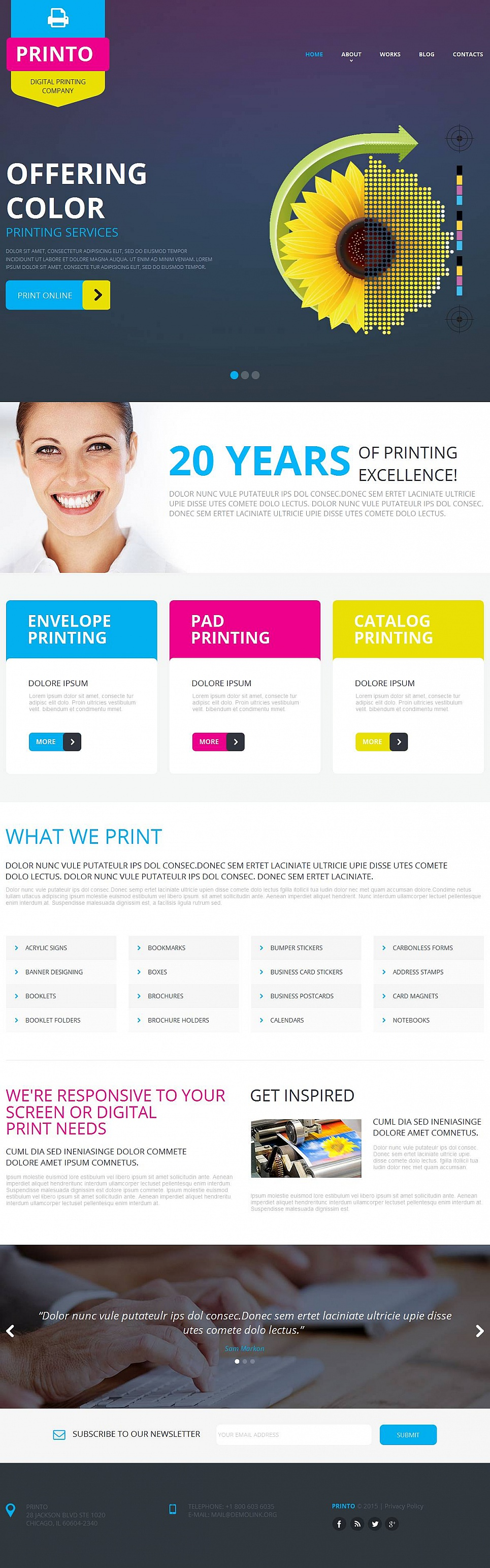 Printing Company Design with a Header Slider - image