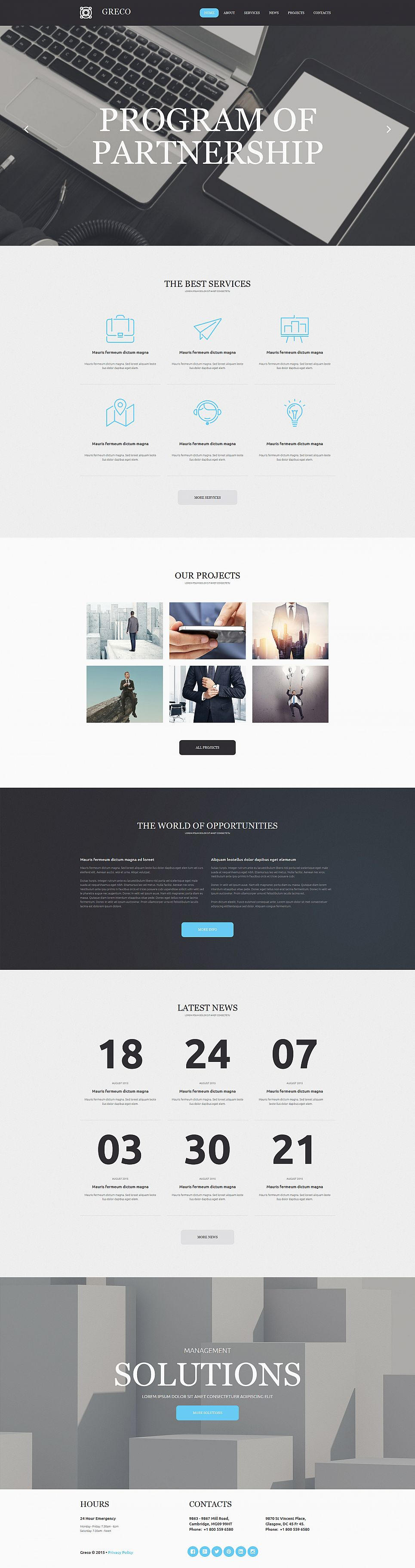 Flat Business Website Design - image