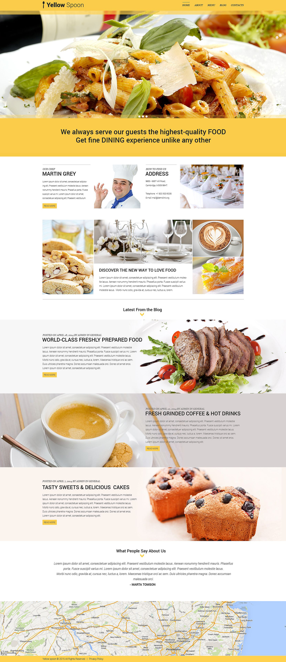 Yellow Spoon - Restaurant Management WordPress Theme