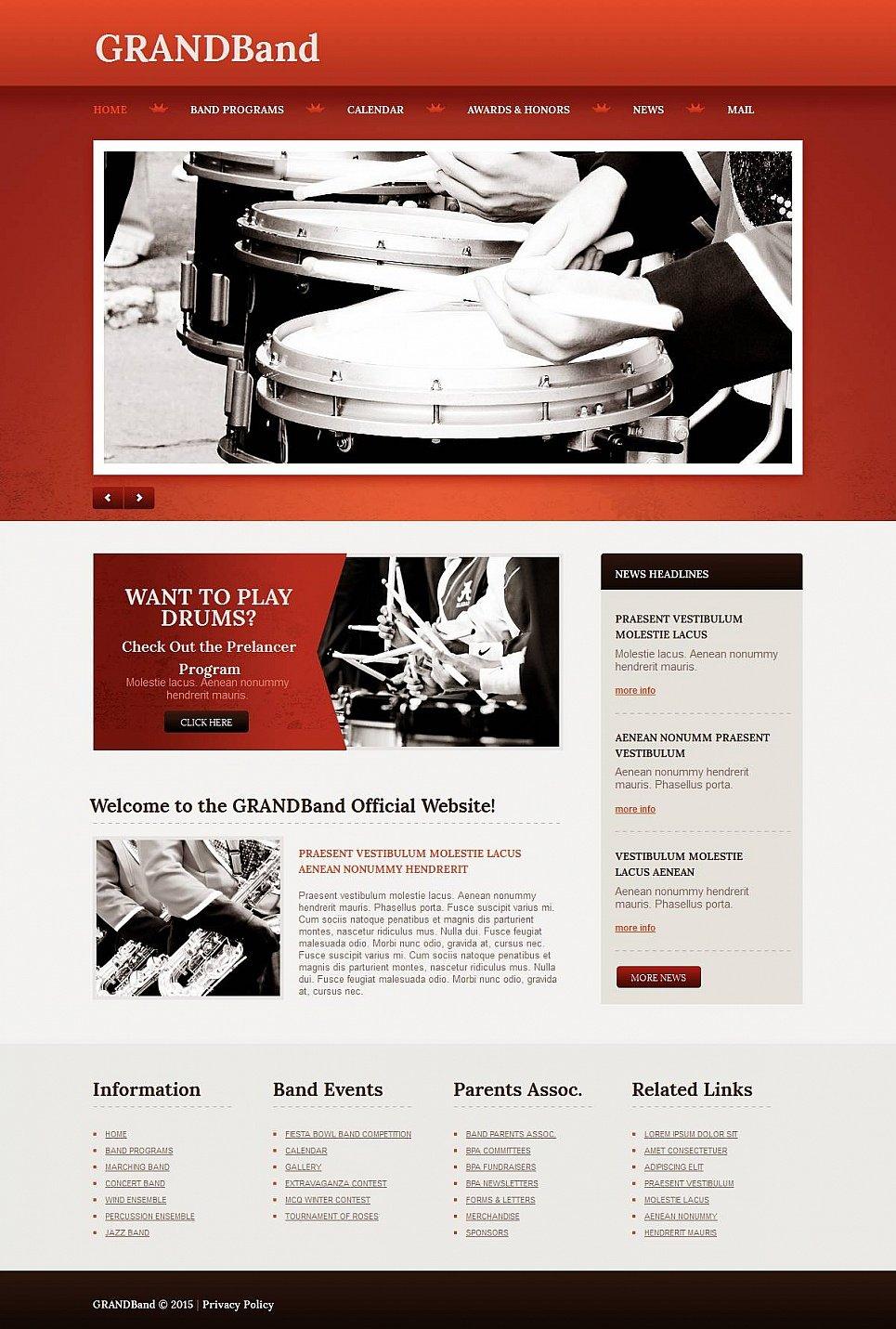 Szablon Strony Zespolu Perkusyjnego - image