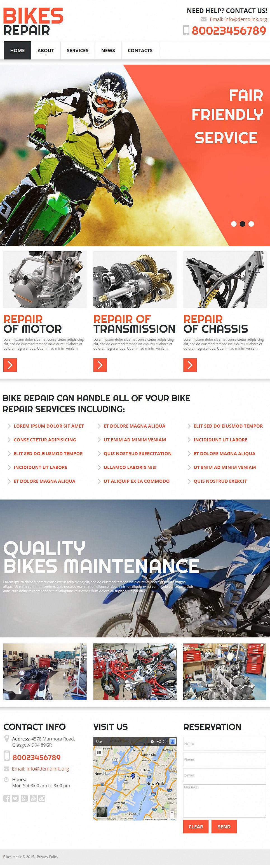 Bicycle Repair Website Template - image