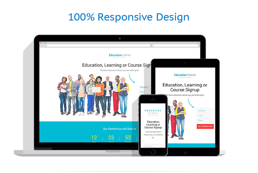 Google Calendar Responsive Design : Education responsive one page landing template themes