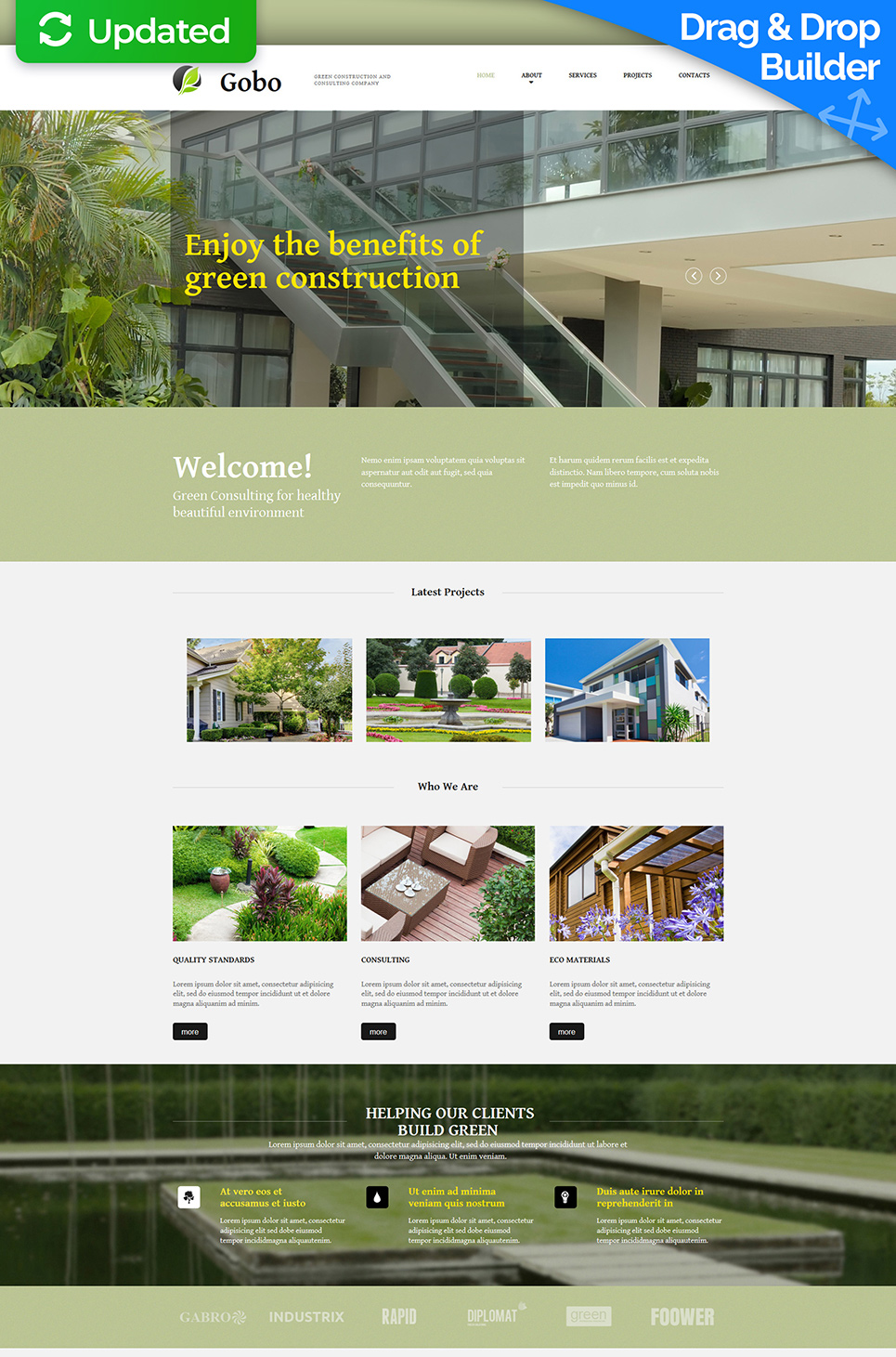 Homepage-Vorlage zum Thema Hausbau in grünen Tönen - image