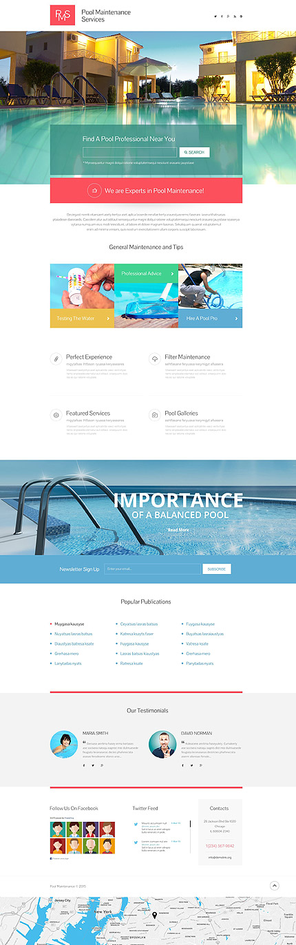 Скриншот лендинг сайта Pool Maintenance Services на шаблоне TM 53796