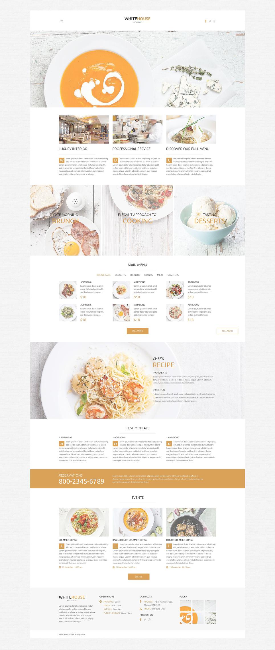 White House - Responsive Cafe & Restaurant WordPress Theme