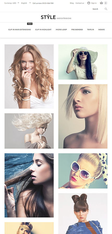 HairStyle PrestaShop Theme Tablet Layout