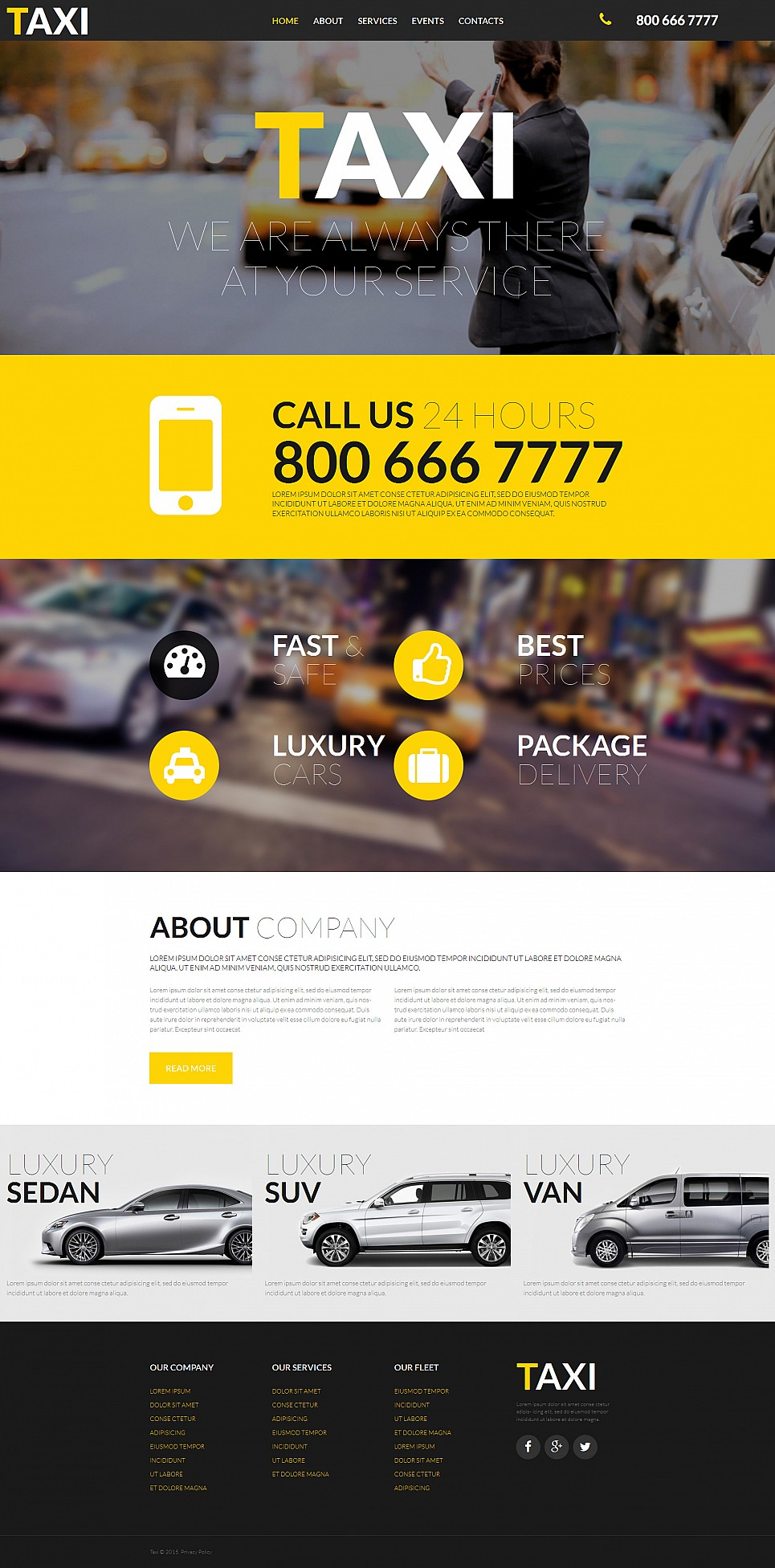 Temat strony firmy usług taksówek