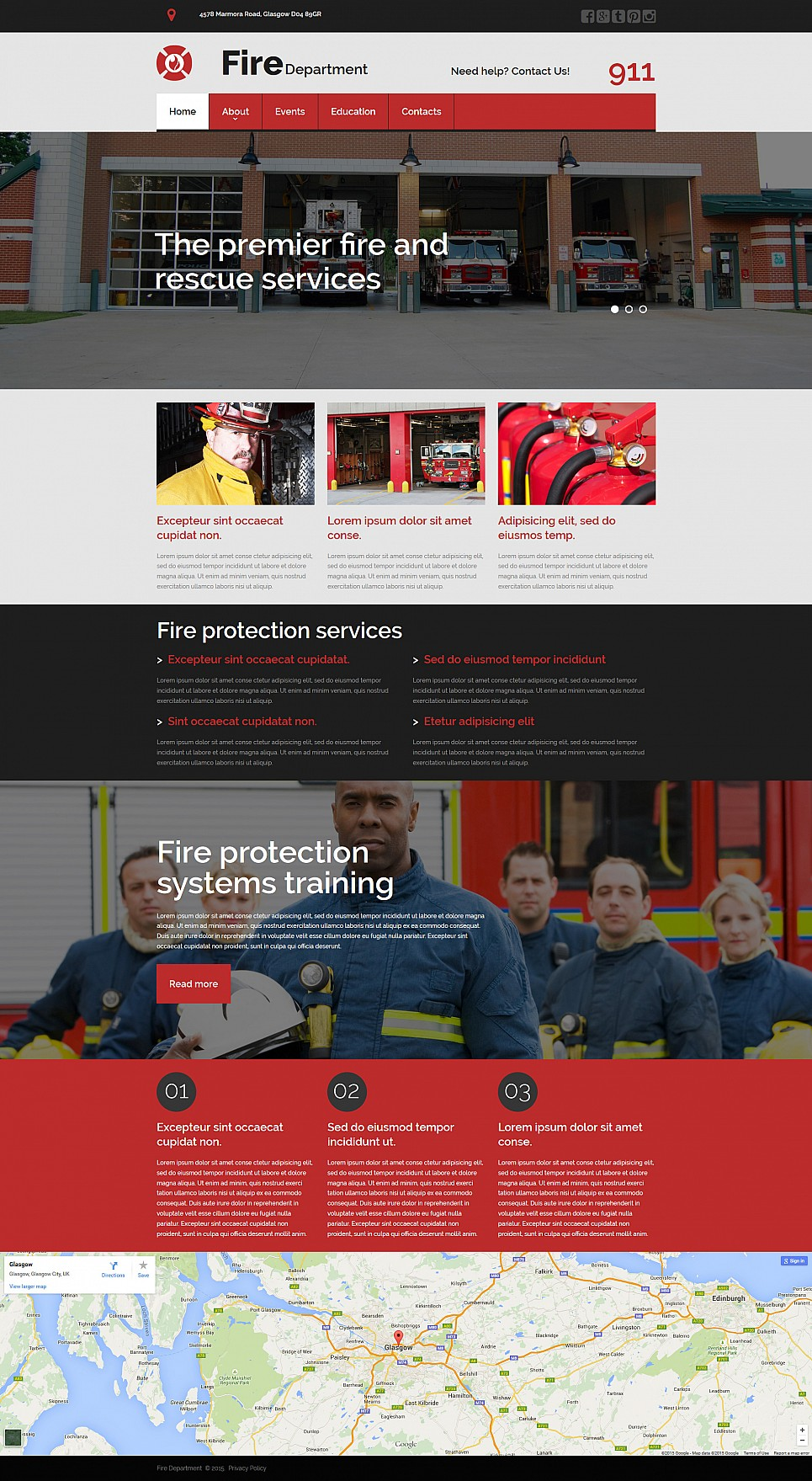 Plantilla de sitio web de lucha contra el fuego - image