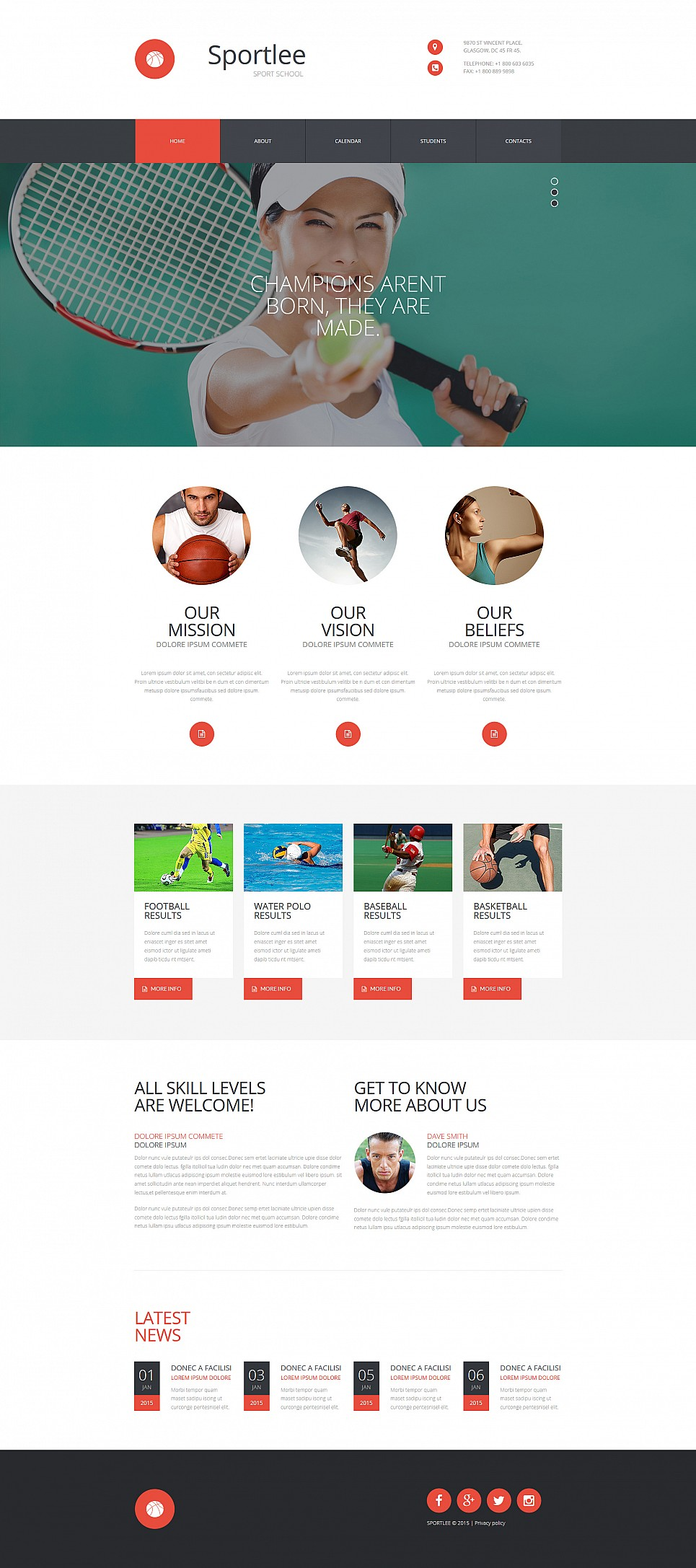 School Sports Website Template - image