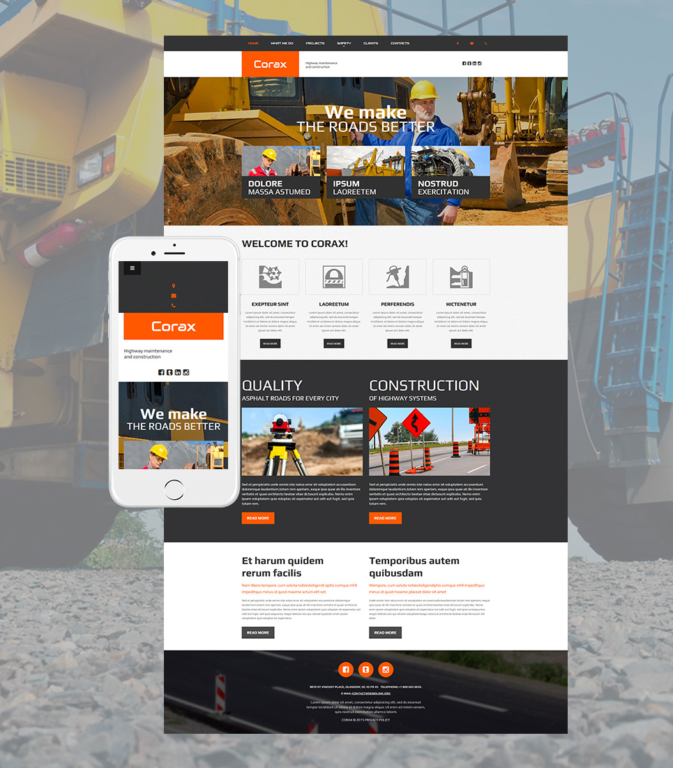 Creative web theme for manufacturers