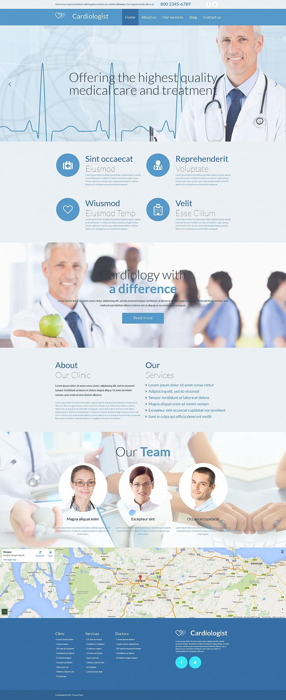 Responsive Homepage-Vorlage für einen Kardiologen - image