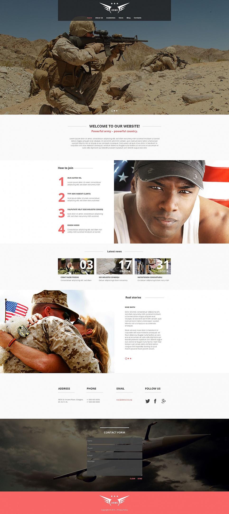 Military site web theme