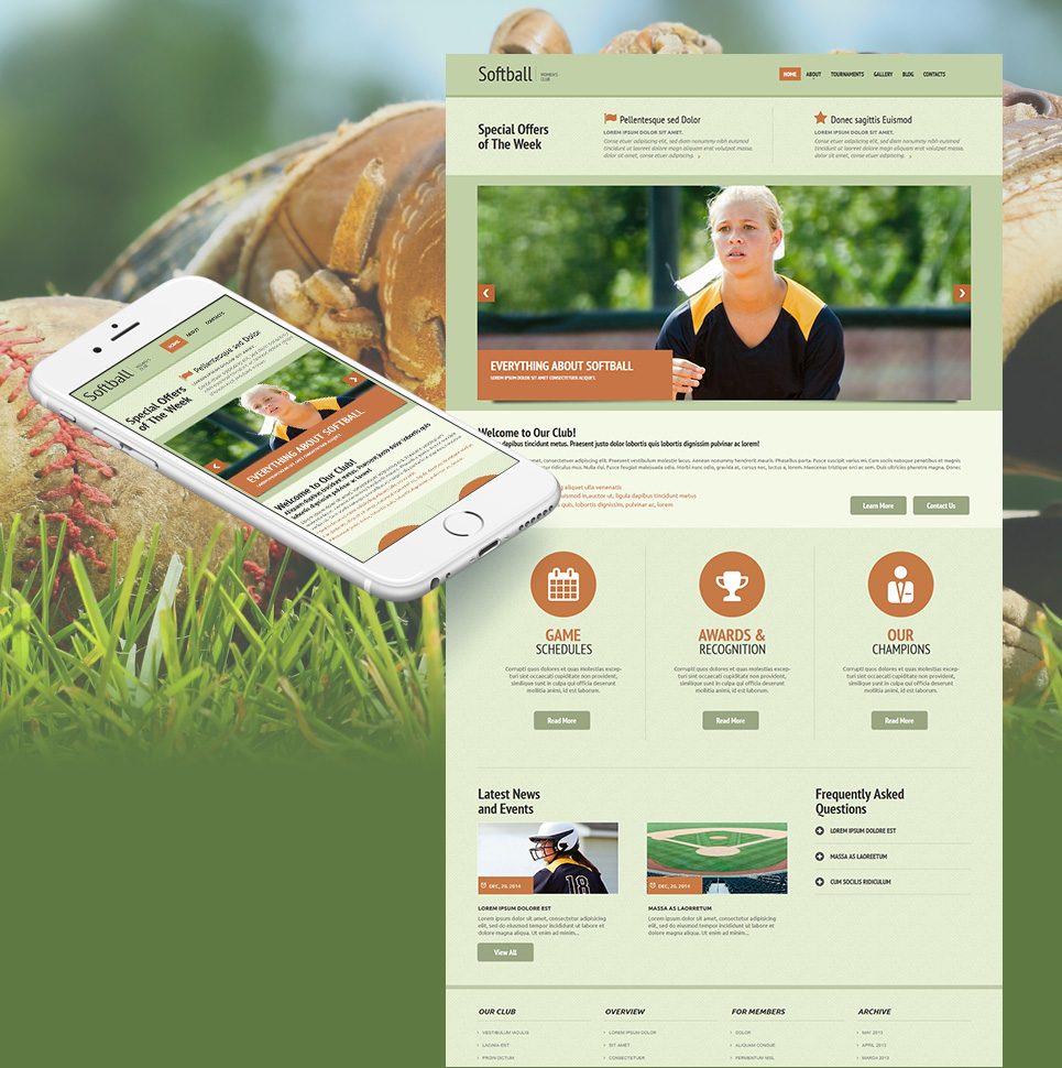Green theme for sport site