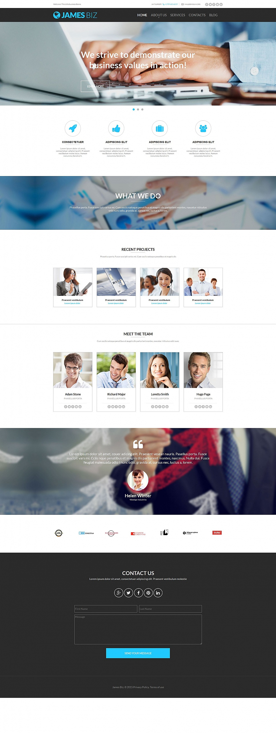 White background site for businessmen