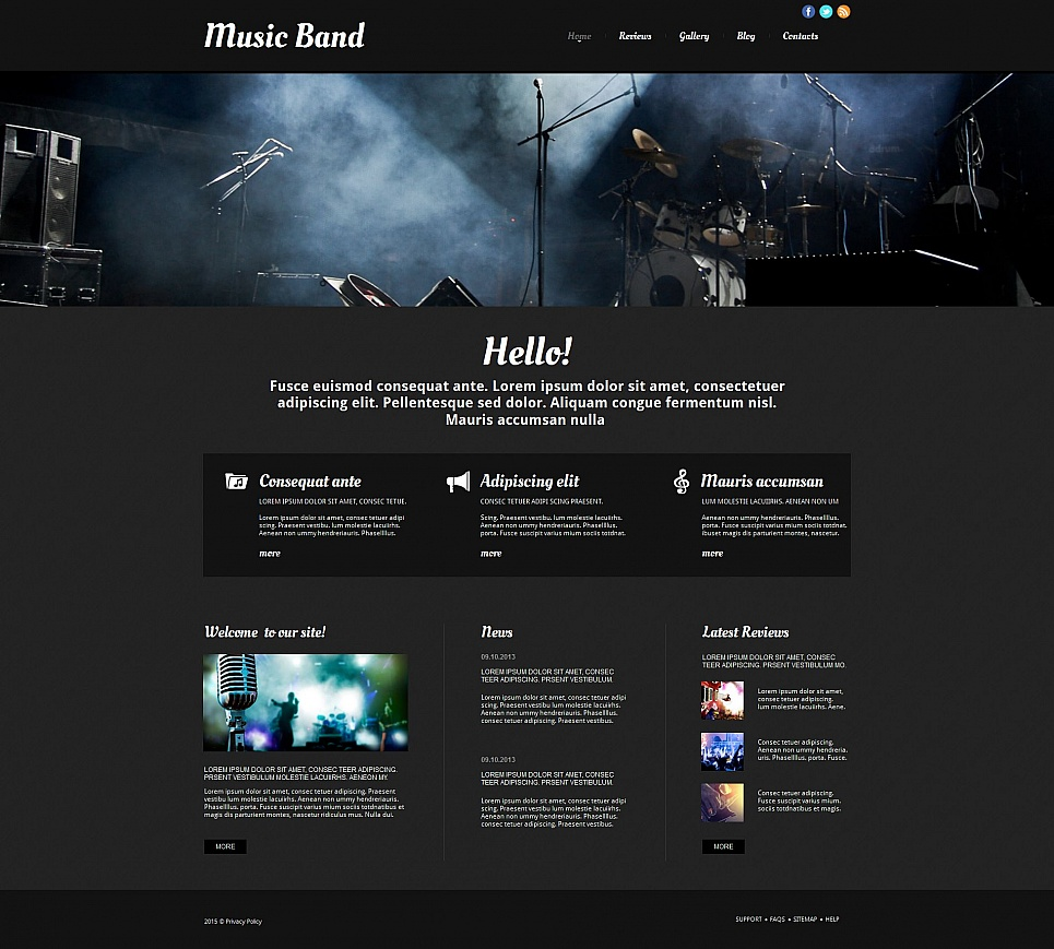 Dark website theme for music band